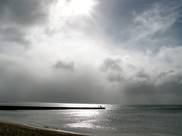 silver light off Waikiki Beach
