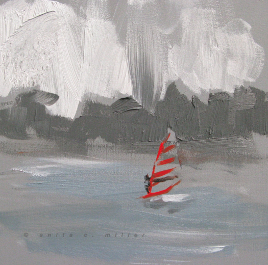 red sailboarder