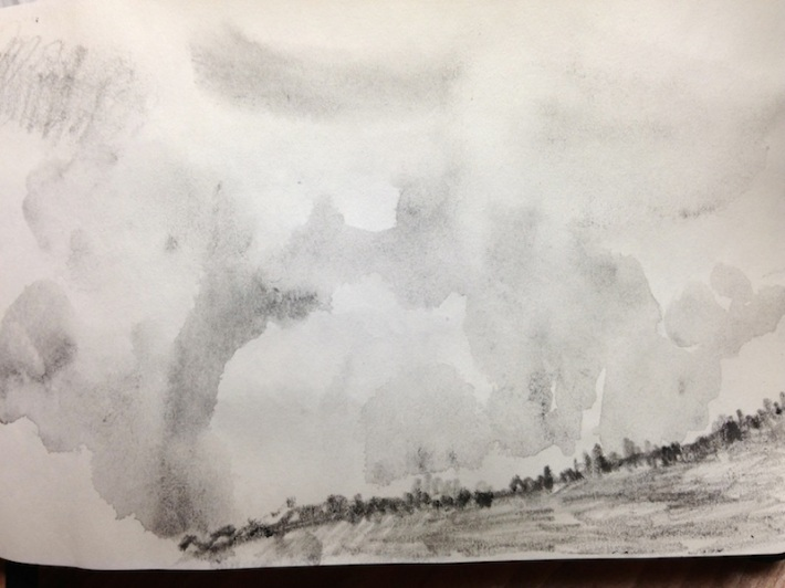 ridge line in fog and rain - looks a bit like watercolor but is really water soluble graphite