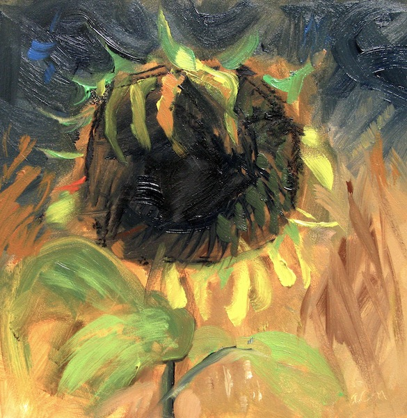 "© Anita C. Miller,  ""Small Sunflower"", 6"" x 6"" oil on gessobord, click here to purchase with PayPal"