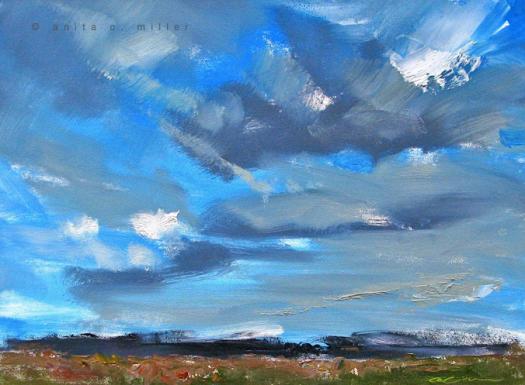 """""""Blue Skies"""", $150.00, oil on gessobord, 9"""" x 12"""""""