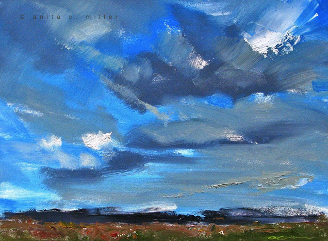 """Blue Skies"", $150.00, oil on gessobord, 9"" x 12"""