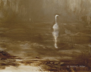 "untitled (egret), 8"" x 10"", oil on gessobord, © Anita C. Miller, 2013"