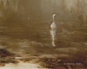 """untitled (egret), 8"""" x 10"""", oil on gessobord, © Anita C. Miller, 2013"""