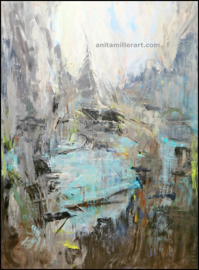 """The Source, 81"""" x 60"""", oil and cold wax, © Anita C. Miller 2015"""