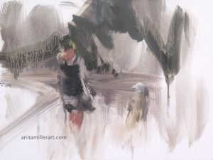 untitled (walking #6), oil on board, © Anita C. Miller 2014